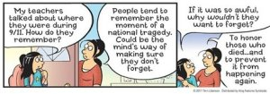 In this comic strip image released by King Features Syndicate, a scene commemorating Sept. 11, is shown in the Pajama Diaries comic strip. With the 10th anniversary of the terror attacks falling on a Sunday, more than 90 cartoonists with five different syndicates have banded together to dedicate their strips on Sept. 11 to those whose lives were lost in the attacks. (AP Photo/King Features Syndicate)