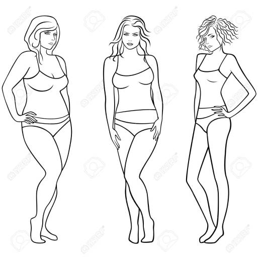 Female outlines with different figures